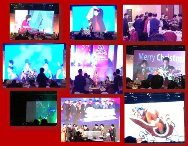 Performances de cantoras chinesas, musicos com instrumentos tradicionais, papai noel no telão, discursos e uma tentativa de samba latino...rs