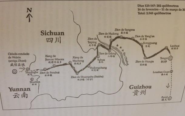 Mapa usado num dos trechos da expedição.