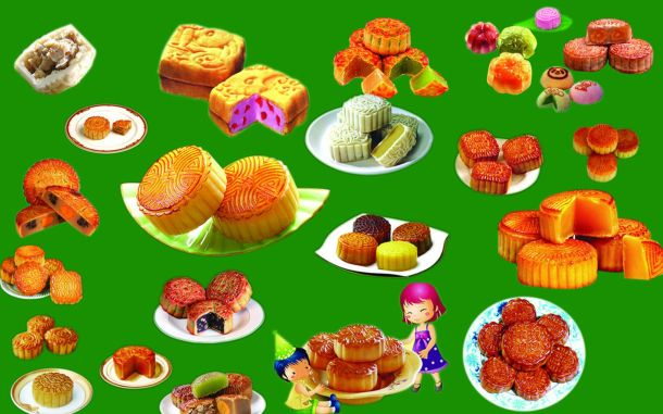 Variedades de Moon Cakes.