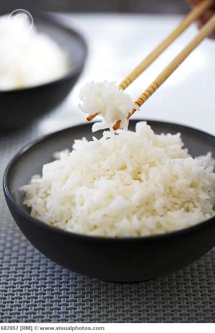 Chopsticks and a Bowl of Sticky White Rice