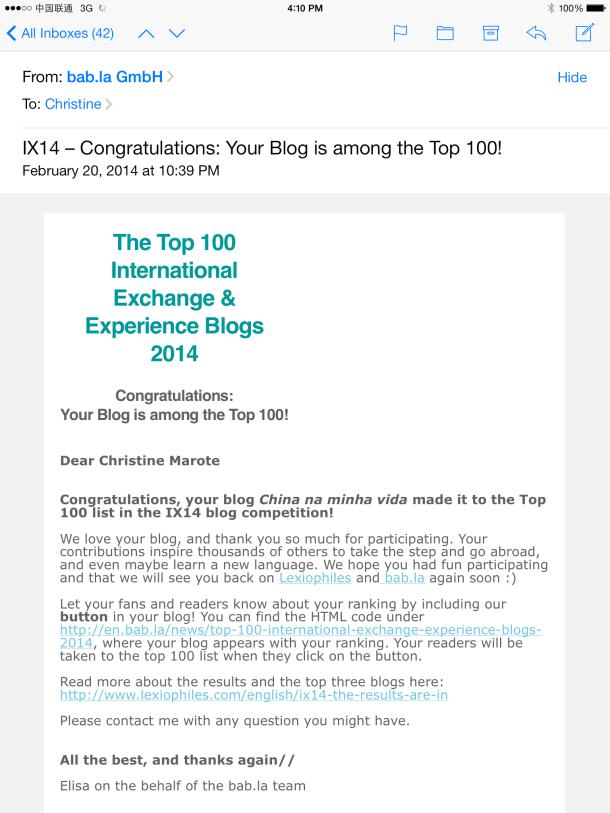 E-mail com a classificação! =]