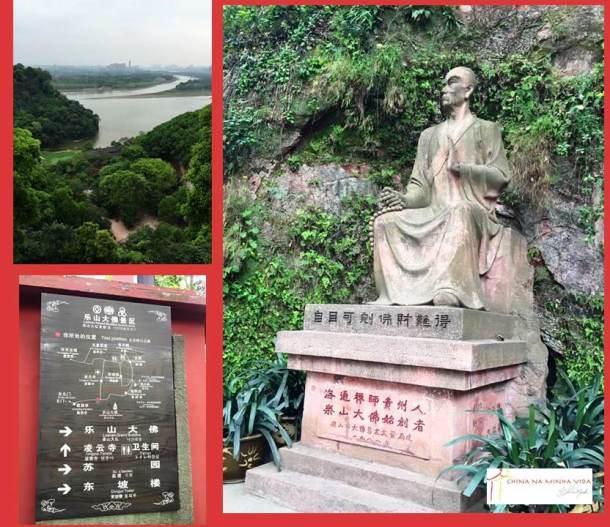 Vista panorâmica do alto do Templo; mapa do parque; estátua do monge