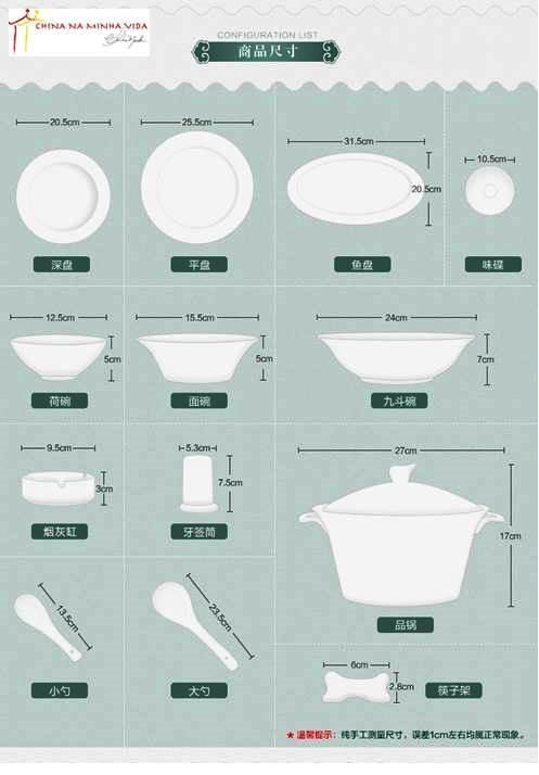 as peças que formam um jogo de pratos chinês.