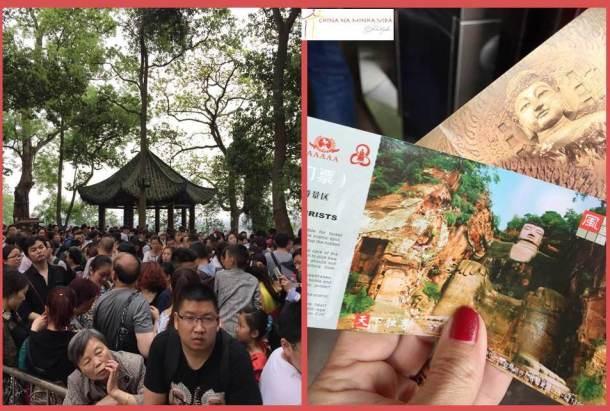 Os ingressos e a fila para descer ao pé do Buddha.