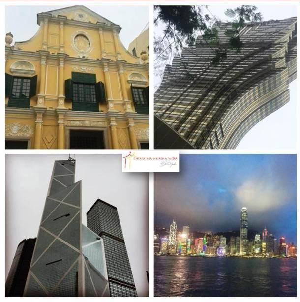 Macau acima e Hong Kong nas fotos de baixo.