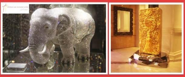 O Elefante de cristal Swaroski, num dos casinos e o totem de 'boas vindas, em ouro!