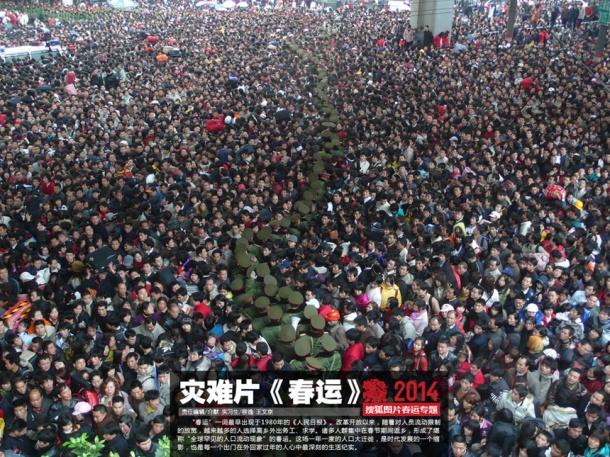 Foto de 2014, na estação de trem de Guangzhou, publicada pela China.org.cn